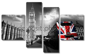 Биг Бен с красочными флагом Англии в Лондоне