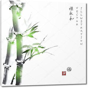 Японская живопись. Стебли бамбука
