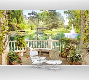 Терраса в живописном саду