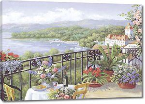 На милом цветочном балконе