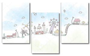 Нарисованный парк развлечений с достопримечательностями