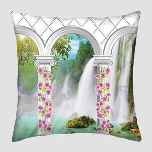 Белые арки и колонны, плетеные с розами и видом на водопад