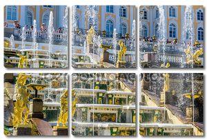 Посмотреть на фонтан Большой Каскад в Петергофе, Россия