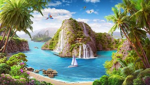 Живописный вид на пляж и море