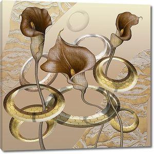 Каллы с металлическими кольцами