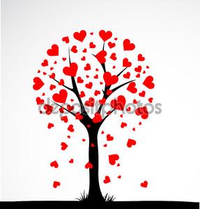 Абстрактное дерево, сделанные с сердечками. Вектор