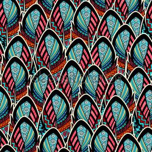 Бесшовный фон с богато украшенный перьями