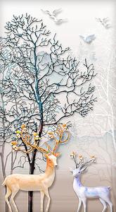 Золотой и белый олени под деревом