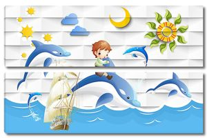 Малыш верхом на дельфине