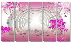 Орхидеи, сакура и тоннель