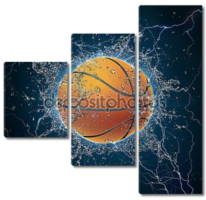 Баскетбольный мяч с брызгами