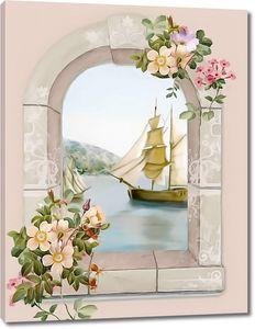 Прекрасный вид из окна на море с кораблем