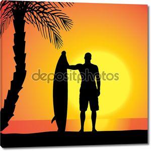 Векторный силуэт человека с доской для серфинга.