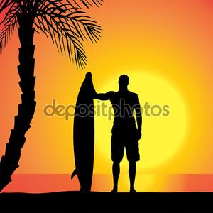 Силуэт человека с доской для серфинга