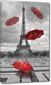 Эйфелева башня с летающими зонтиками