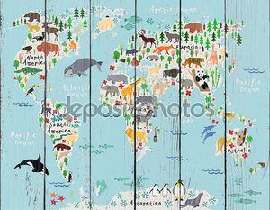мультфильм животных карта мира для детей и малышей