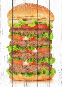 Огромный бургер с котлетами и помидорами