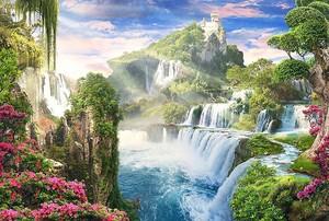 Замок на горе с водопадами