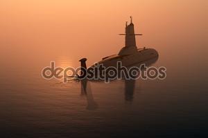 Подводная лодка в море на закате