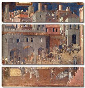 Амброджо Лоренцетти. Плоды доброго правления (фрагмент)