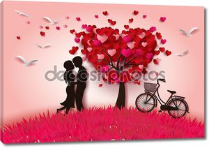Два влюбленных под дерево любви