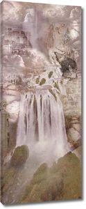 Маленький водопад в скалах
