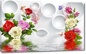 Бутоны роз с кольцами над водой