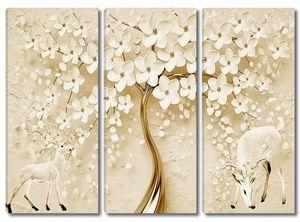 Цветущее дерево,  два оленя