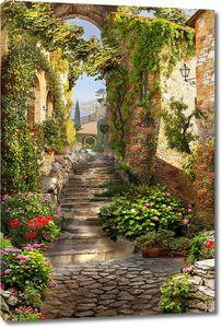 Улица с лестницей и множеством растений