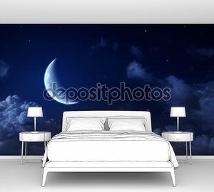 Большая Луна и звезды в небе