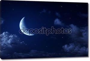 Большая Луна и звезды в небе облачно ночь Голубая