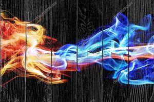 Красный и синий дымок