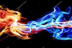 красный и синий дым