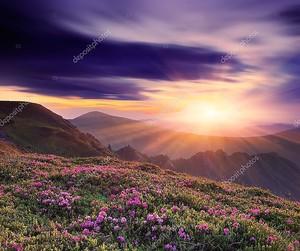 Красивый закат весной в горах