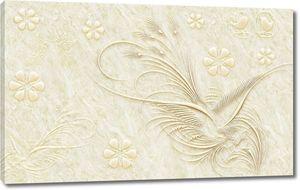 Мраморный фон, декоративные абстрактные цветы и птицы.