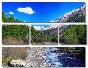Вид на горы и реки в долину. Эльбрус район