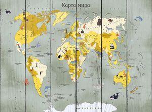 Детская карта мира с животными в желтых цветах