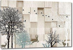 Деревья и олени на фоне кубической стены