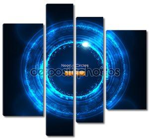 Неон круги абстрактные векторные фон