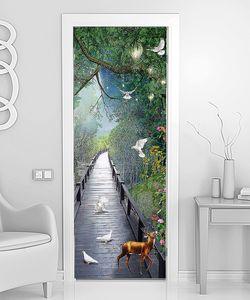 Олень и голуби на длинном мостике
