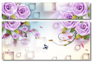 Цветы с объемными квадратами
