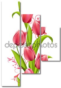 Вертикальные бесшовный паттерн с тюльпанами