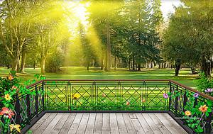 Небольшая терраса с видом на лес