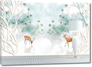 Торшер у стены с изображением оленей