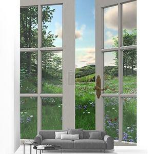 вид окна сельской местности
