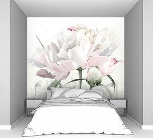 Белый пион на пастельном фоне
