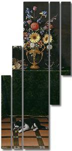 Хуан Ван дер Хамен. Натюрморт с вазой с цветами и собачкой