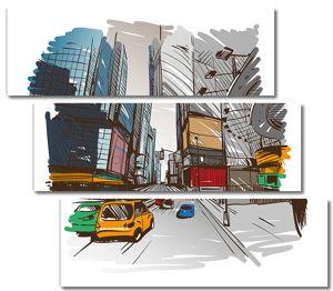 рука нарисованные cityscape, векторные иллюстрации