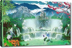 Каскадный водопад в горах