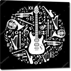 Черный и белый любовь к фоновой иллюстрации концепцию музыки
